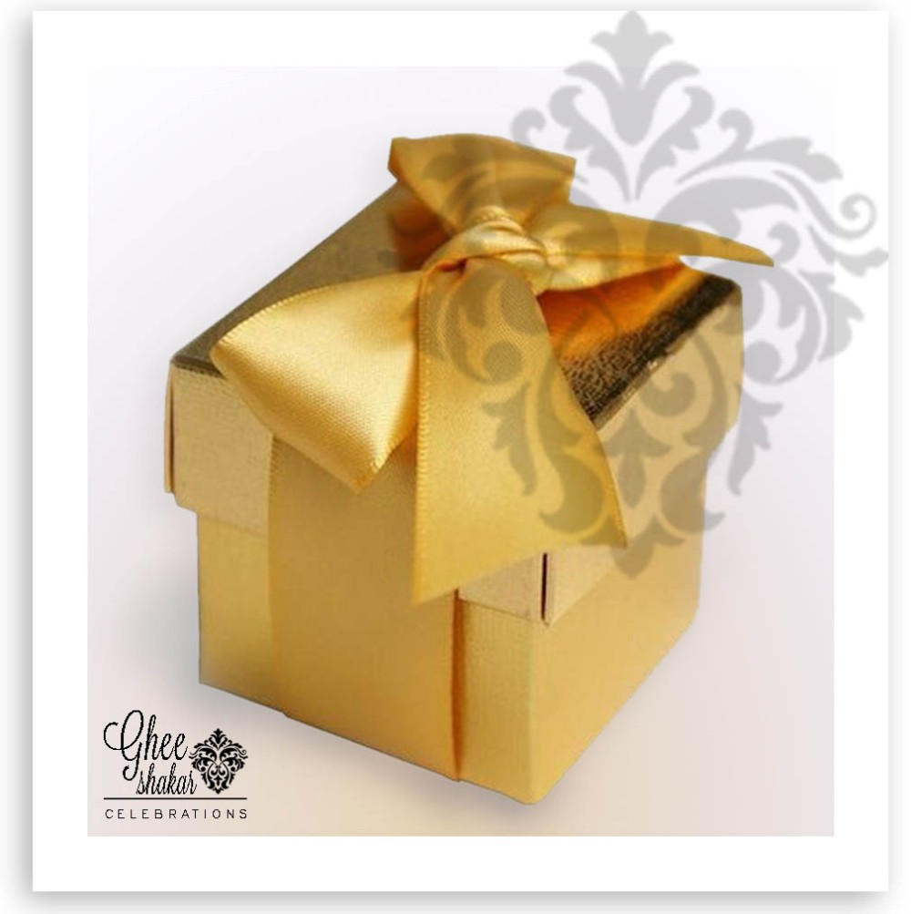 gold box with bow